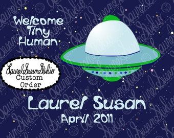 Custom Blue Space Nursery Printable Art, Personalized Welcome Tiny Human, Aliens, Digital Wall Art, PNG, JPG, PDF