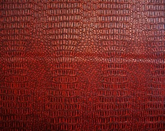 "Faux/Fake Leather, Vinyl, Gator Pattern, Textured, Red/Black, Upholstery Fabric, sold by the yard, 55"" wide x 36"" long"