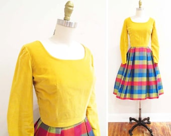 Vintage 1950s Dress | Yellow Velvet and Plaid 1950s Party Dress | size small