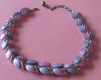 Shades of Purple and Pink Thermoset / Lucite Necklace - Vintage