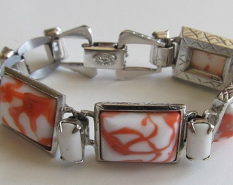Vintage Kramer Orange Creamsicle Milk Glass Link Bracelet