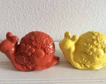 Colorful Garden Snails - Set Of 2 -Orange Yellow - Shabby Cottage Chic - Porch Patio Decor - Garden Yard Art - Figurine - Snail Statues