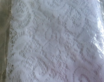 White Lace Curtain Panel - New In Package - European Elegance - French Cottage - Shabby Country Chic - Girls Room - Fabric 40 By 81 Inches