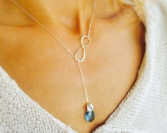Sterling silver INFINITY NECKLACE, Lariat Y-necklace, birthstone & initial necklace, bridesmaid thank you gifts, bridal gifts, Otis B