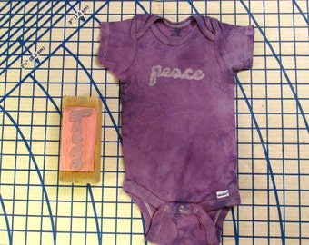 Plum purple hand stamped Peace onesie, 18 months. 100% cotton. R007