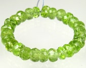 Quality Natural Genuine Peridot Micro-Faceted Small Rondelle Beads - 5mm x 3mm - 26 beads - B4158
