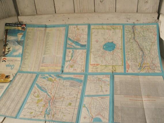 Vintage Oregon Road Freeway Highway Map Folded 1965 Free Shipping Us