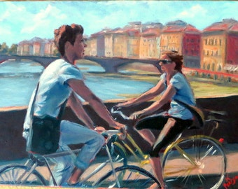 """Italian Landscape Painting- 12 x 16 Original Oil on Canvas, """"Crossing the Arno"""""""