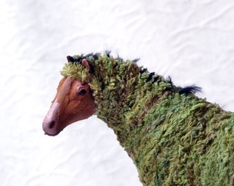 Altered horse assemblage, moss sculpture