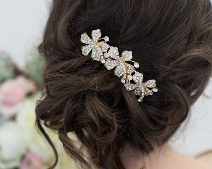 Sale, Gold or Silver floral crystal hair combs, Crystal Hair Clip, Crystal Hair Accessories, Floral Hairpiece, Wedding Hair Accessories