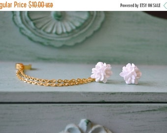 VALENTINES DAY SALE Pure White Bloom Double Chain Ear Cuff (Pair)