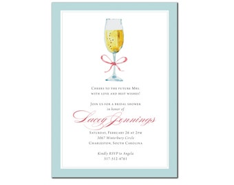 Bridal Shower Luncheon, Wedding Shower Brunch, Champagne, Sweet, Pink, Teal, Aqua, Bride, Printed