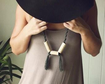 Horizon Necklace IIII. Polymer Clay. Tassel Necklace. Fiber Jewelry.