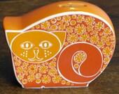 vintage retron orange cat money box by carlton ware
