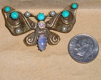 Vintage Butterfly Brooch With Faux Turquoise Opalescent Stones 1960's Signed Original By Robert Jewelry 6036