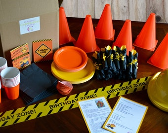 Construction Themed Birthday Party-In-A-Box. Custom Party Box-Personalized Birthday Invites-Construction Birthday Party-Celebration Creation