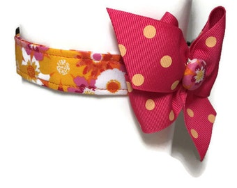 Bright Tropical Floral Dog Collar size Extra Small
