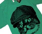 Cat in a Hat vintage newsboy cap T Shirt tee - American Apparel Tshirt - S M L XL 2XL (15 Color Options)