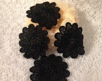Black Flower Applique - Set of 4