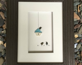 6 by 8 sea glass birdhouse art by sharon nowlan