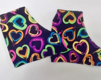 Colorful hearts skate boot covers for ice skates or roller skates
