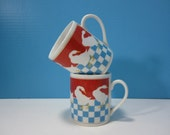 OC Omnibus, Japan Coffee Cups / Mugs / Geese / Tea Cups / Set of 2 / Red White and Blue