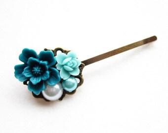 Haarklammer,haarspange,hair pin,hair clip, hochzeit,wedding,Blumen,Vintage-Stil,petrol