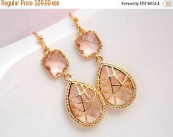SALE Peach Earrings, Champagne Earrings, Gold Earrings, Blush, Glass, Wedding, Bridesmaid Earrings, Bridal Earrings Jewelry, Bridesmaid Gift