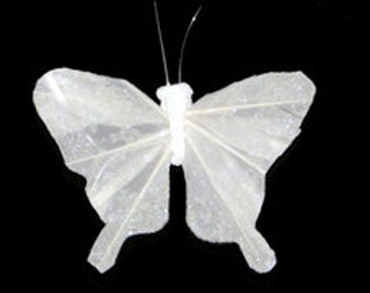 12 pc 5 Inch White Feather Butterfly with Clip (BF135C) for Weddings, Anniversaries, Parties, Floral Arrangements, Bouquets, Costumes