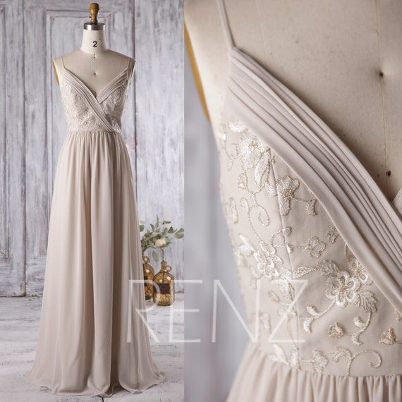2017 Cream/Beige Bridesmaid Dress V Neck Wedding Dress With