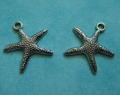 2 Pcs Antiqued Silver Plated Silver Alloy One Sided Starfish Charms Jewelry Beach Ocean