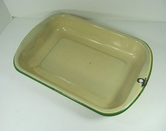 Vintage TAN ENAMEL PAN Large Enamelware Dish Green Trim Garden Plant Tray Farmhouse