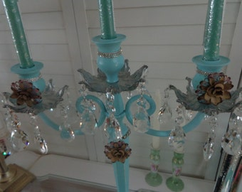 Tall vintage Wedding shabby chic, ornate metal AQUA eclectic candelabra with AsFour crystal prisms