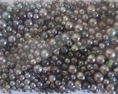 Glass Pearls/Assortment of Greys/Round Glass Pearls/Destash