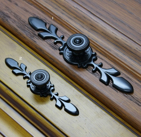 Country Kitchen Cabinet Knobs: French Country Black Dresser Knobs Drawer Knob Back Plate