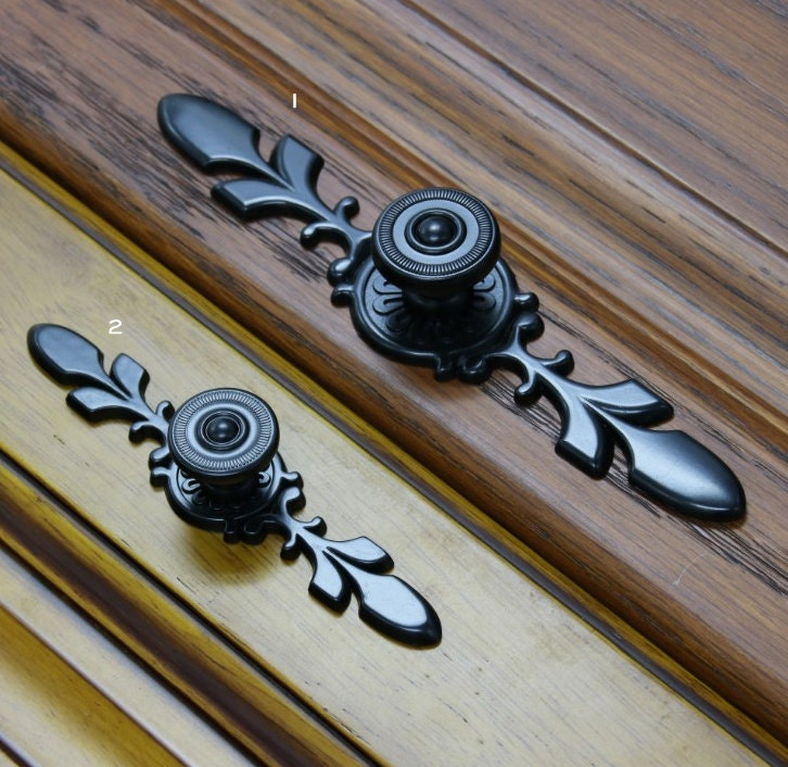 Country Kitchen Cabinet Hardware: French Country Black Dresser Knobs Drawer Knob Back Plate