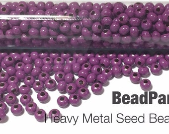 Fuchsia Plated Metal Seed Beads - Size 11/0 - 52 grams