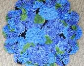 """Blue Hydrangea 12"""" Doily"""