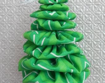 Green and White Chevron Fabric Tree Ornament