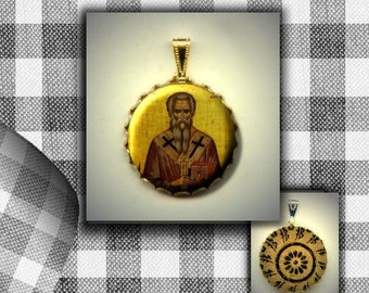 St Achilles Orthodox icon flat button CABOCHON in Brass Charm / Pendant