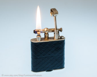 Working 1920s Silverplate French Dunhill Unique Pocket Lighter With Snakeskin Covering
