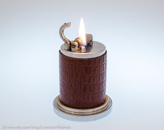 Rare 1950s Perkins Shawlite British Roller Table Lighter with Crocodile Covering