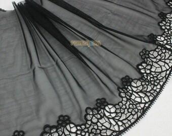 Terylene Lace Trim Black Tulle Lace Trim Floral Embroidery Lace Trim 15cm Width -- 2 Yards (LACE454)