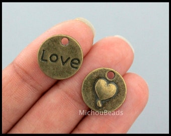 5 Bronze LOVE Heart Charm Pendants - 15mm Antiqued Bronze Stamped Infinity Round Circle Coin Charm - Instant Ship - USA DIY Craft - 6528