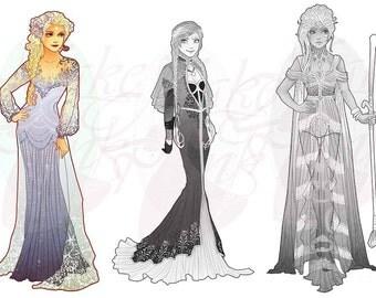 Elsa, Frozen, Princess Mucha Style CROSS STITCH PATTERN Original Art by Hannah Alexander