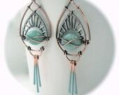 Art Deco Earrings - Light blue earrings - Statement Earrings - Aqua Earrings - Turquoise Earrings - Bohemian Jewelry - Art Deco Jewellery