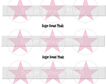INSTANT DOWNLOAD Blank Pastel Pink  Stars  1 inch Circle Bottlecap Images 4x6 sheet