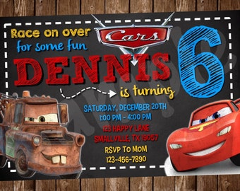 Cars McQueen and Mater Invitation (DC02)