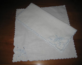2 white hankies, dragonfly embroidery