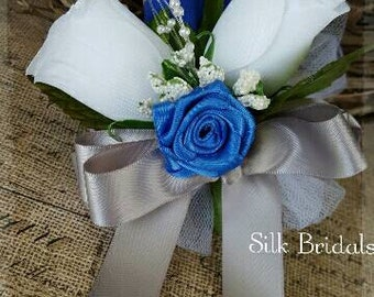 Royal BLUE white Roses silver gray WRIST Corsage Wedding Bridal flowers mother grandmother prom